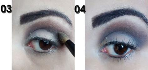 3)Com uma sombra preta também opaca, aplico em cima do marrom aplicado no passo anterior, misturando as cores. 4)Fica assim! o/