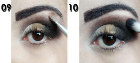 9)Com uma sombra quase no tom da minha pele, aplico abaixo da sobrancelha. 10)Com um pincel limpo bem fofinho, termino de esfumar misturando essas cores.