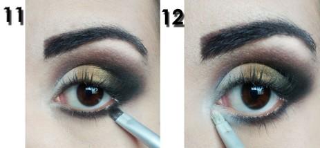 11)Com um pincel fininho, aplico a mesma sombra preta rente aos cílios inferiores. 12)Aplico também a sombra branca no cantinho interno.