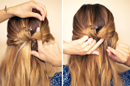 04) Com o coque dividido em dois, prenda cada lado com um grampo. Esse passo é o mais importante, pois dará forma ao penteado!